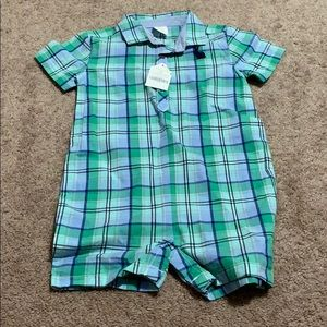 Gymboree baby 18-24 month romper new plaid green